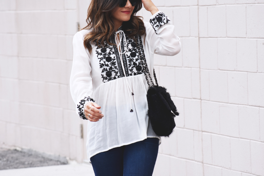 Kayceline white long sleeve top chic talk white top with black embroidered flowers mightylinksfo
